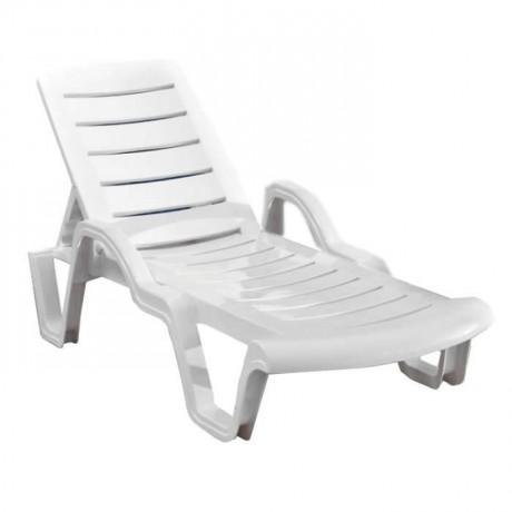 Kollu Beyaz Plastik Havuz Deniz Şezlongu - stb9089