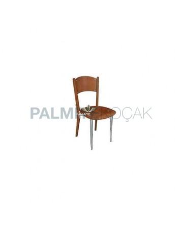 Backrest Walnut Painted Metal Chair
