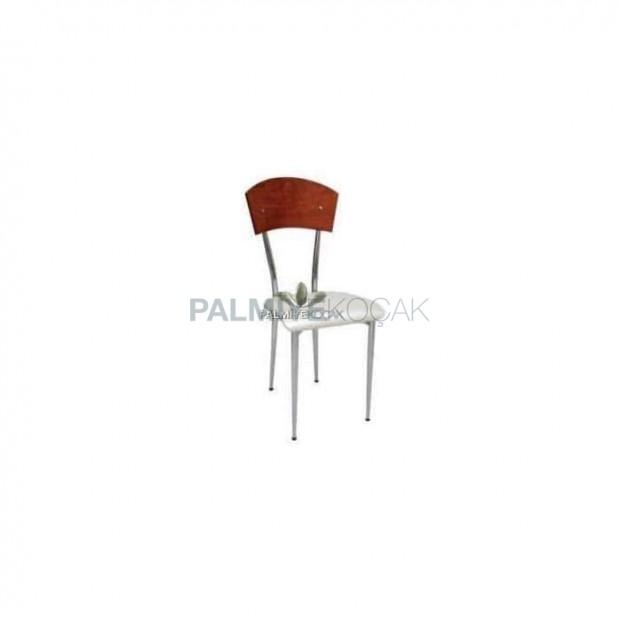 Sırtı Kontralı Oturak Deri Döşemeli Metal Sandalye