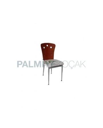 Bent Plywood Backing Lake Painted Metal Chair