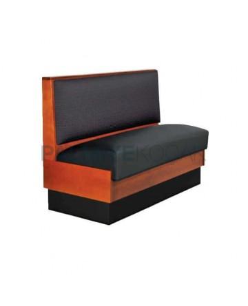 Black Leather Upholstered Wooden Cafe Loca
