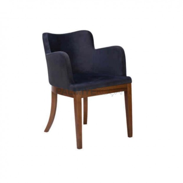 Siyah Deri Döşemeli Eskitme Boyalı Cafe Sandalyesi