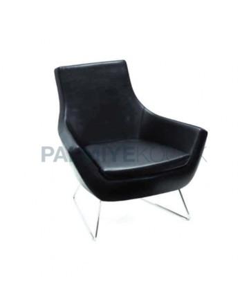 Black Leather Upholstered Metal Leg Seat