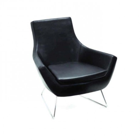 Black Leather Upholstered Metal Leg Seat - psd254