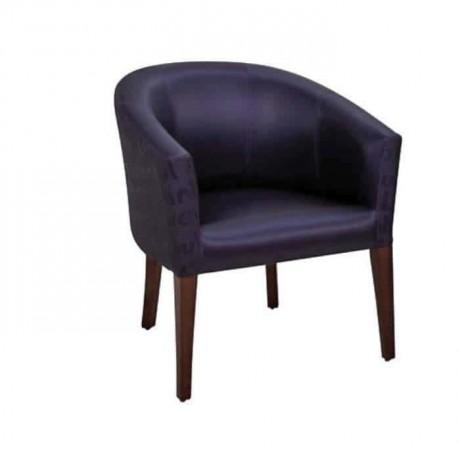 Siyah Deri Döşemeli Poliüretan Ahşap Ayaklı Sandalye - psa652