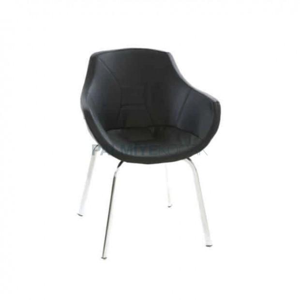 Siyah Derili Kollu Poliüretan Sandalye
