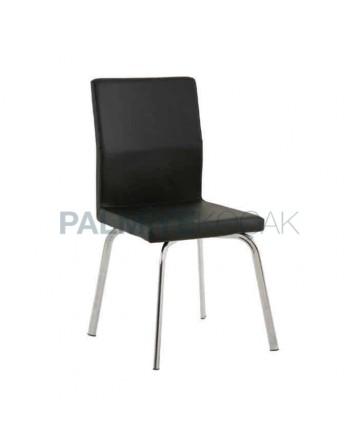 Black Leather Metal Legs Polyurethane Chair