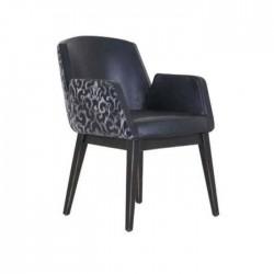 Black Leather Modern Polyurethane Cafe Armchair
