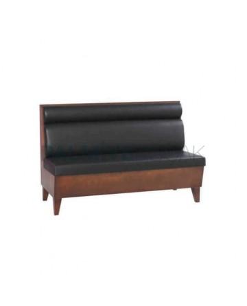 Black Upholstered Wooden Cafe Booths