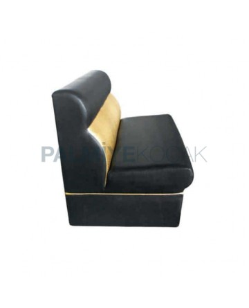 Black Cream Leather Upholstered Cafe Booths