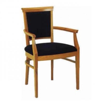 Siyah Kumaş Döşemeli Ahşap Renkli Klasik Kollu Sandalye - ksak90