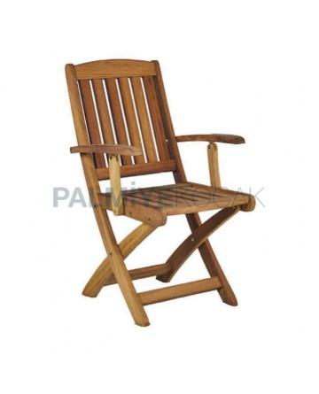 Teak Folding Cafe Armchair