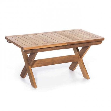 Teak Cafe Garden Table with Crossed Legs - tkm1309