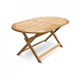 Oval Folding Leg Teak Table