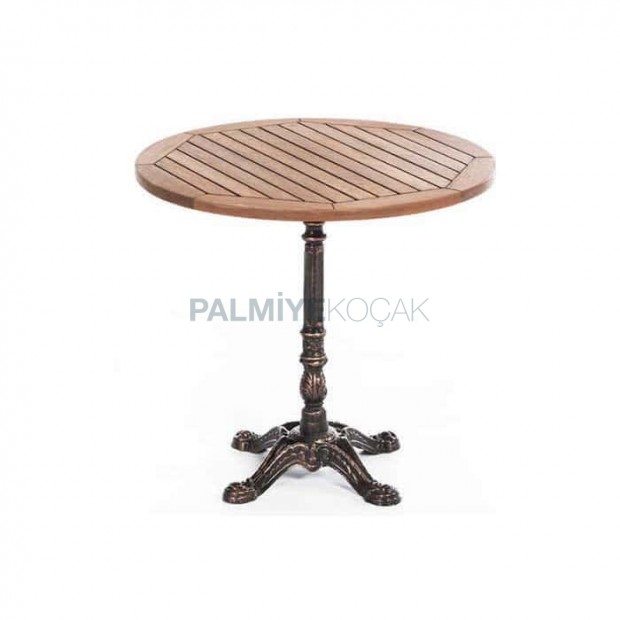 Round Table Casting Leg Teak Table