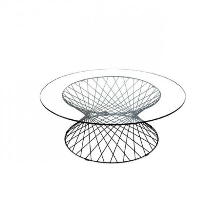 Glass Table Top Round Wire Table