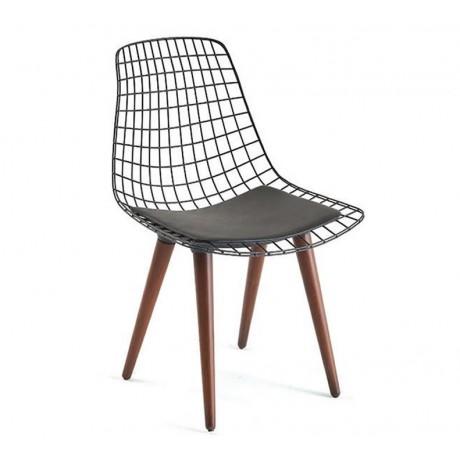 Ahşap Ayaklı Deri Oturma Yüzeyli Tel Metal Sandalye Modeli - Telli Metal Sandalye