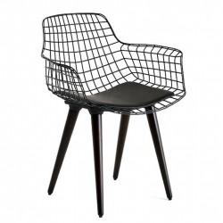 Black Wooden Leg Metal Wire Chair