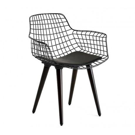 Siyah Ahşap Ayaklı Metal Tel Sandalye - tms105