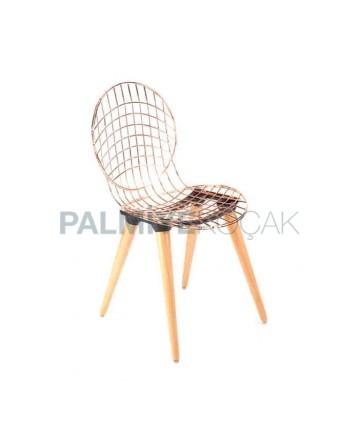 Ahşap Ayaklı Telli Metal Sandalye