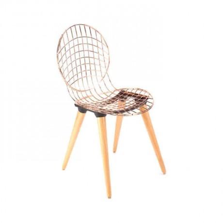 Ahşap Ayaklı Telli Metal Sandalye - tms7185