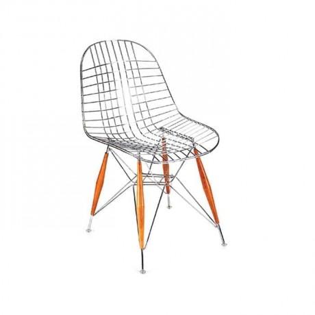 Ahşap Tornalı Metal Ayaklı Telli Metal Sandalye - tms7111