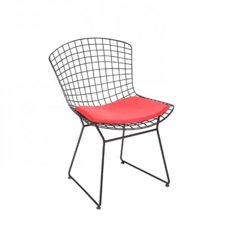 Kırmızı Döşemeli Telli Metal Sandalye - tms7175