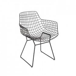 Grey Black Restaurant Cafe Hotel Wire Arm Chair