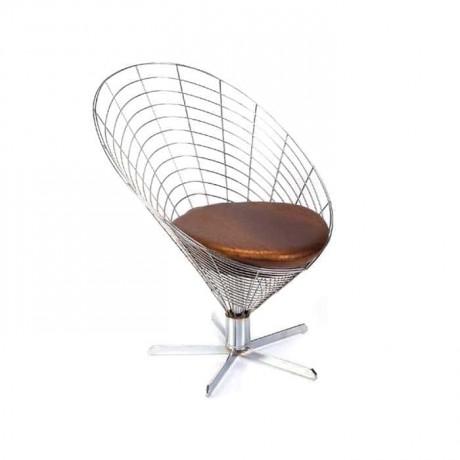 Oval Sırtlı Telli Sandalye Yıldız Ayaklı Minderli - tms7183