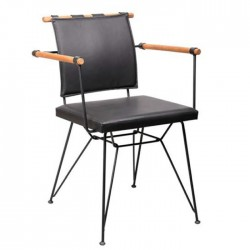 Metal Chair with Artificial Leather Upholstered Wooden Armrest