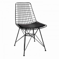 Metal Stick Black Painted Cafe Restaurant Wire Chair