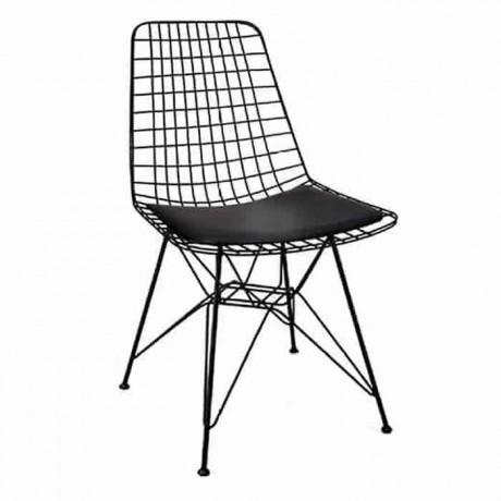 Tel Sandalye Çubuk Metal Siyah Boyalı Cafe Restoran Sandalyesi - tms7171