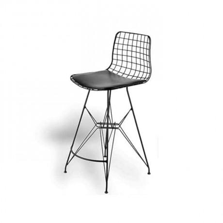 Telli Bar Yüksek Tabure Sandalye Siyah Boyalı Deri Döşemeli - tms7198