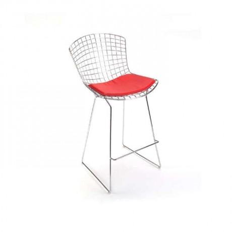 Telli Metal Bar Sandalye Kırmızı Deri Döşemeli - tms7188