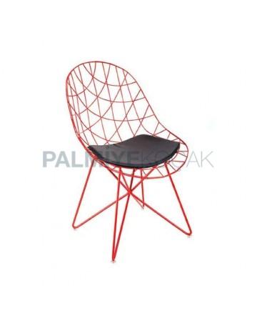 Telli Metal Çubuklu Kırmızı Cafe Restoran Hotel Sandalyesi