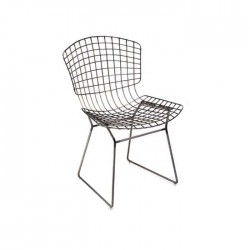 Black Painted Cafe Otel Restaurant Wire Chair