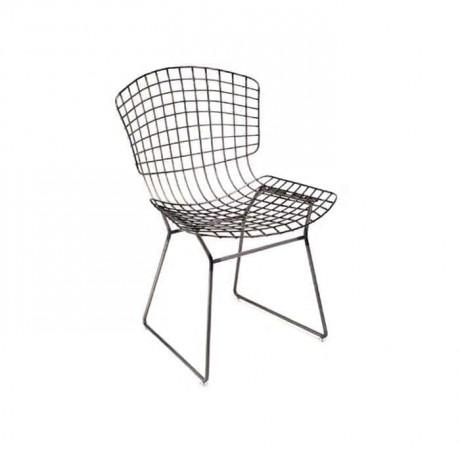 Telli Metal Sandalye Siyah Boyalı Cafe Otel Restoran Sandalyesi - tms7174