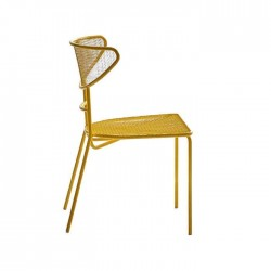 Half Arm Yellow Painted Cafe Wire Chair