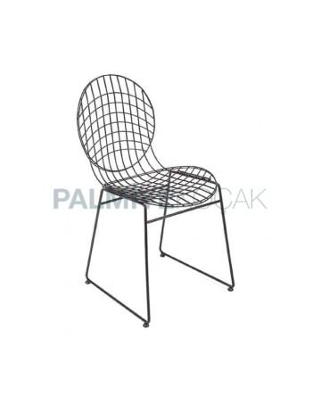 Yuvarlak Sırtlı Metal Tel Sandalye Otel Cafe Restoran Sandalyesi