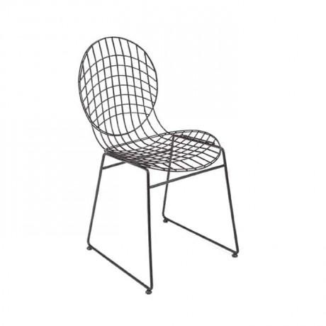 Yuvarlak Sırtlı Metal Tel Sandalye Otel Cafe Restoran Sandalyesi - tms7173
