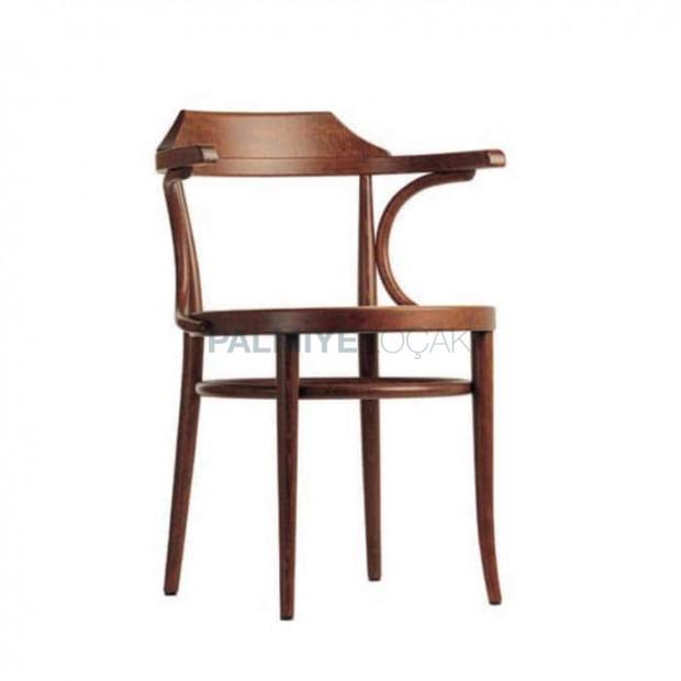 Ahşap Kollu Açık Ceviz Boyalı Tonet Sandalye