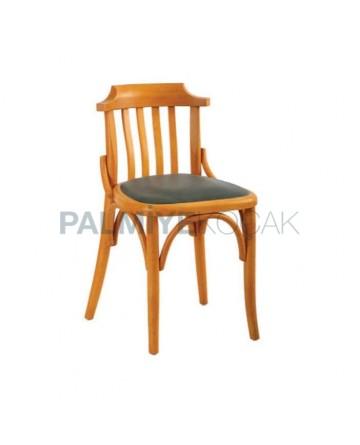 Ahşap Meşe Renkli Siyah Döşemeli Tonet Sandalye