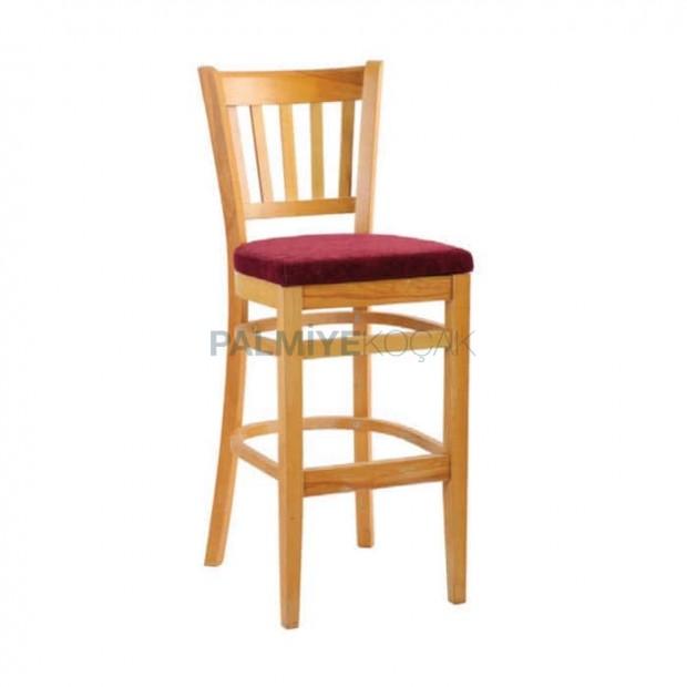 Ahşap Tonet Cilalı Bar Sandalyesi