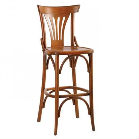 Ahşap Tonet Cilalı Bar Sandalyesi - abt0009