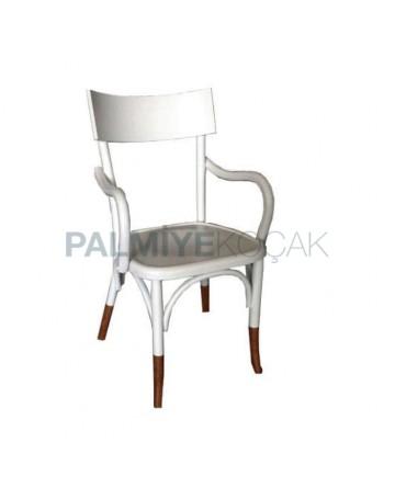 Beyaz Boyalı Kollu Ahşap Tonet Otel Sandalyesi