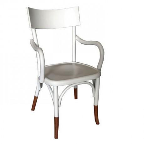 Beyaz Boyalı Kollu Ahşap Tonet Otel Sandalyesi - ths9513s