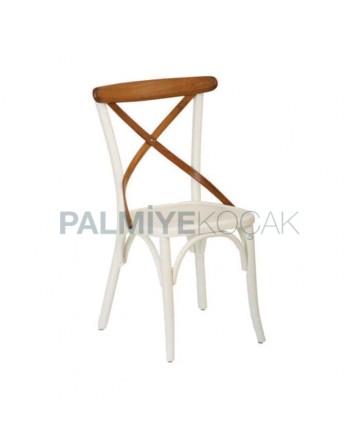 Beyaz Lake Ahşap Cafe Thonet Sandalyesi