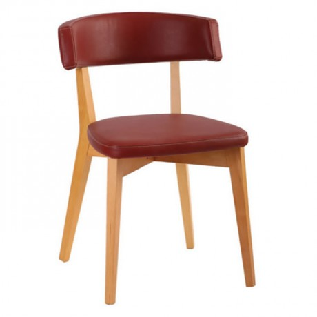 Bordeaux Leather Upholstered Wooden Cafe Chair - ths9353s