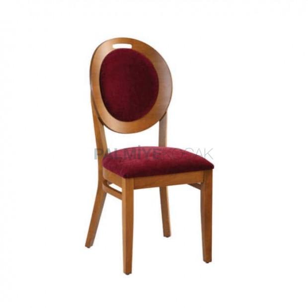 Bordo Kumaş Döşemeli Yuvarlak Tonet Sandalye