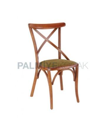 Çapraz Çıtalı Cilalı Ahşap Restoran Sandalyesi